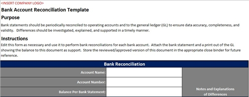 BankReconciliationAccountingTemplate – Bank Account Reconciliation Template