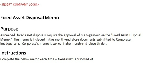 Fixed asset disposal form accounting template for Fixed asset policy template