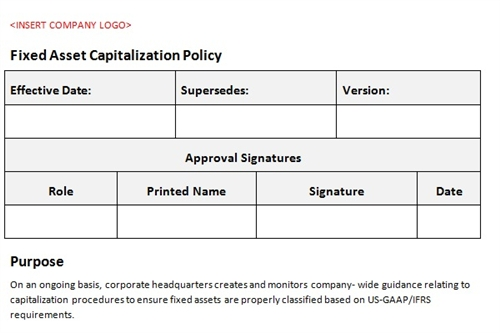 Fixed asset capitalization policy accounting template for Fixed asset policy template