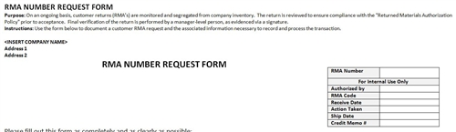 Rma number request accounting template for Rma request form template
