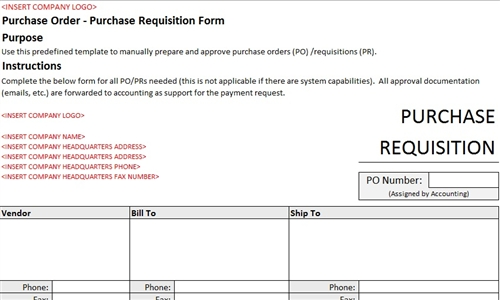 PurchaseRequisitionFormAccountingTemplate