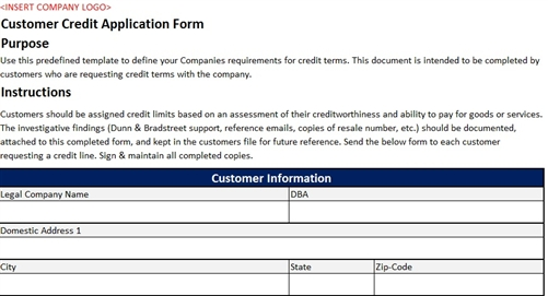 CustomerCreditApplicationFormAccountingTemplate