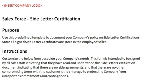 Sales Force Side Letter Certification Accounting Template