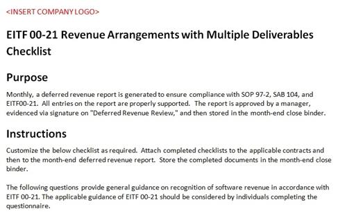 Revenue multiple deliverables sop 97 2 for Sab 99 memo template