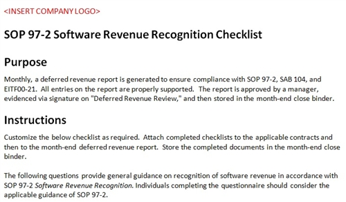 Sop 97 2 checklist accounting template software revenue for Sab 99 memo template