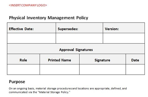 physical inventory management policy accounting template