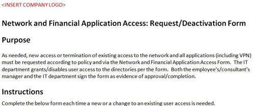 Network Access Form Accounting Template