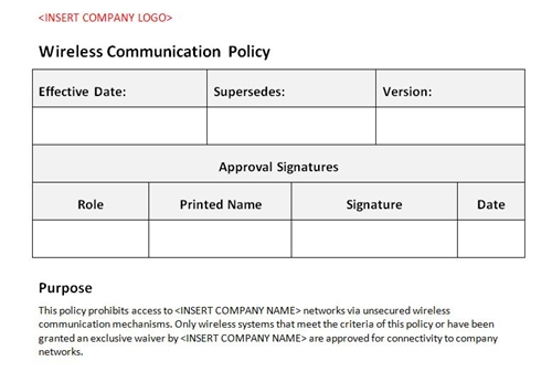 wireless communication policy accounting template