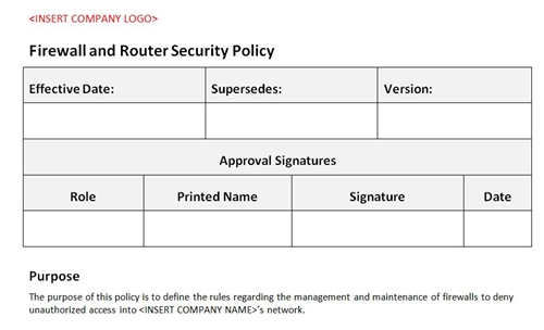 firewall router security policy accounting template