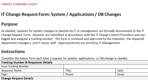 It Change Request Form System  Applications  Db Changes